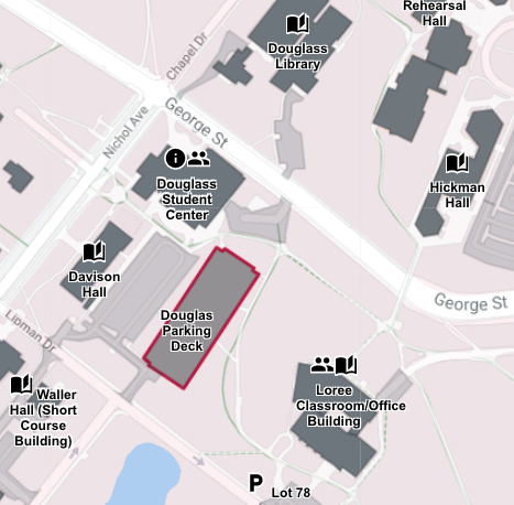 Map Location of Douglass Campus Center and Parking Deck